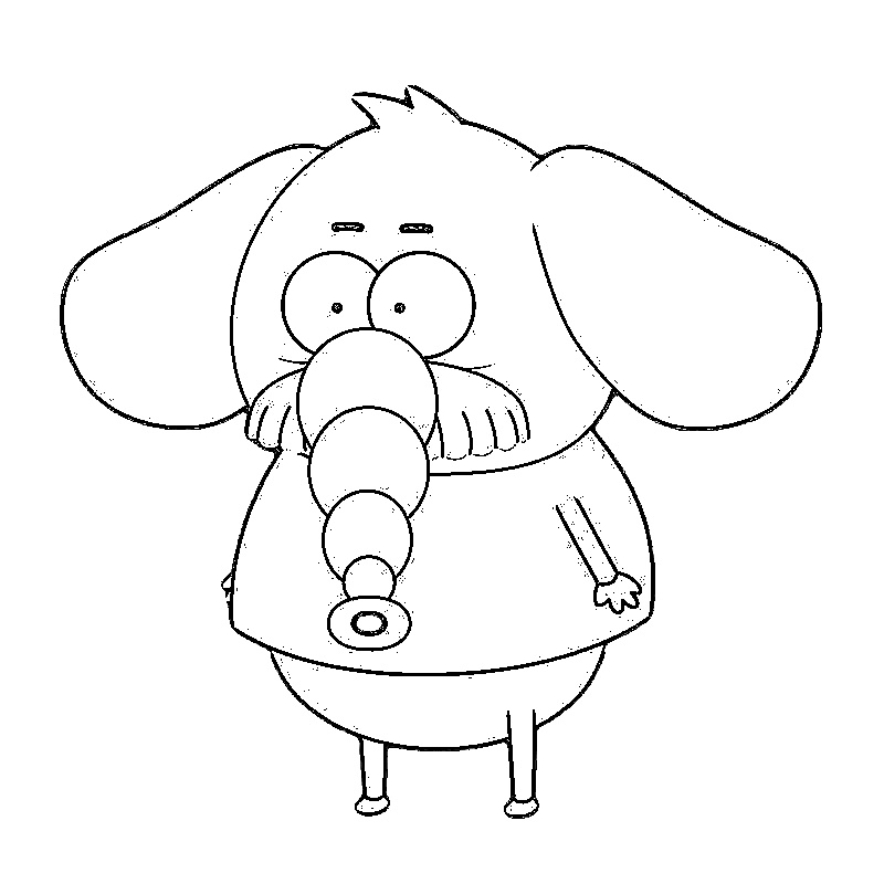 Isolated Object Coloring Black Lines White Background Elephant
